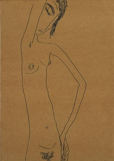 Edward Hagedorn (American, 1902-1982), Nude, c. 1926-1927, Ink on brown wove paper mounted on wove paper, 10-7/8 x 7-3/4 in.