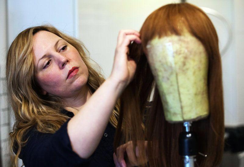 Merria Dearman in Har, her N.Y.C. wig making studio.