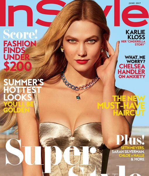 June 2017 InStyle Magazine featuring Karlie Kloss wearing a handtied hairpiece created by Merria Dearman