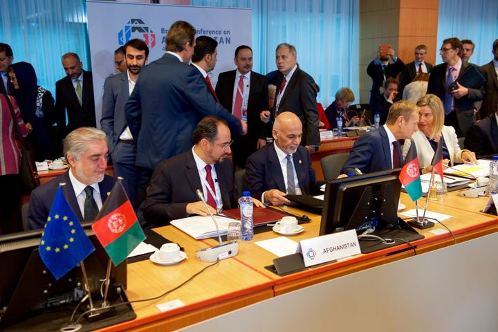 Afghan Chief Executive Abdullah and President Ghani at Afghanistan Conference in Brussels October 5, 2016