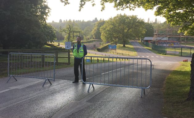 A police officer outside the Drayton Manor theme park following the