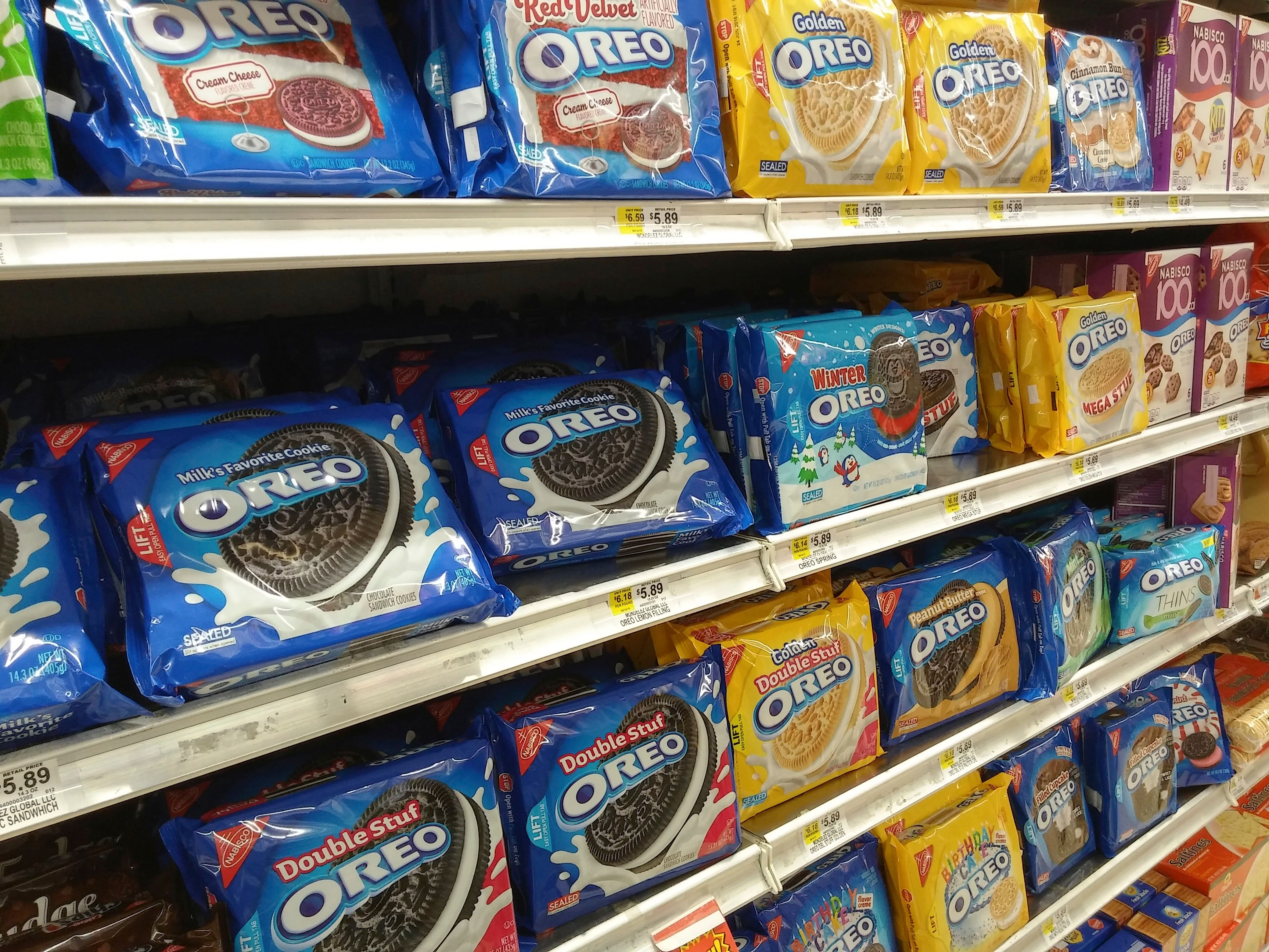 Boxes of Nabisco's Oreo Cookies in multiple yummy flavors on a supermarket shelf in New York on Tuesday, March 15, 2016. The company has upped the ante for cookie lovers by coming out with multiple flavors of the milk and cookie staple. (© Richard B. Levine) (Photo by Richard Levine/Corbis via Getty Images)