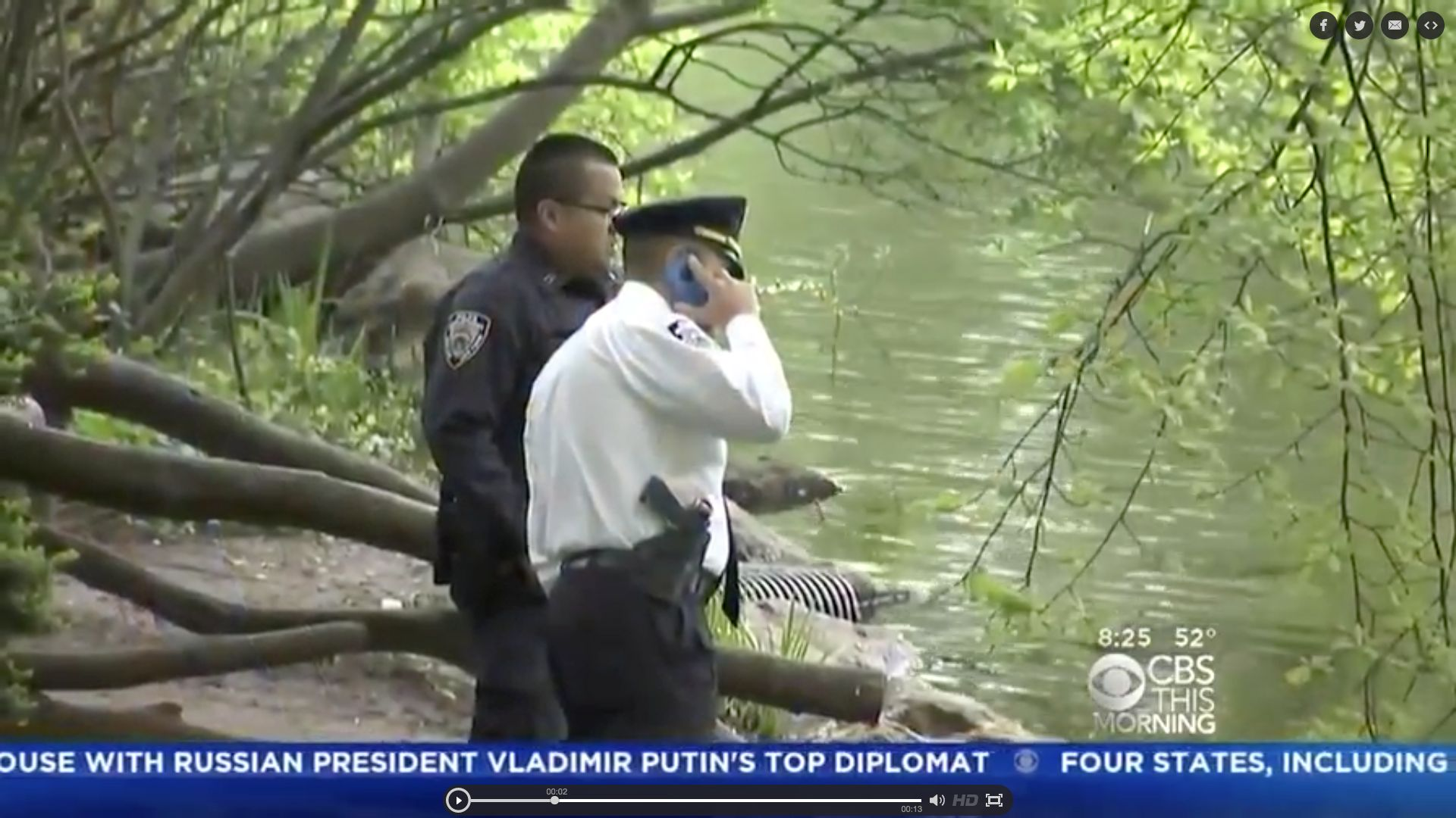 Police are seen at a Central Park pond on Wednesday after a body was recovered from the water
