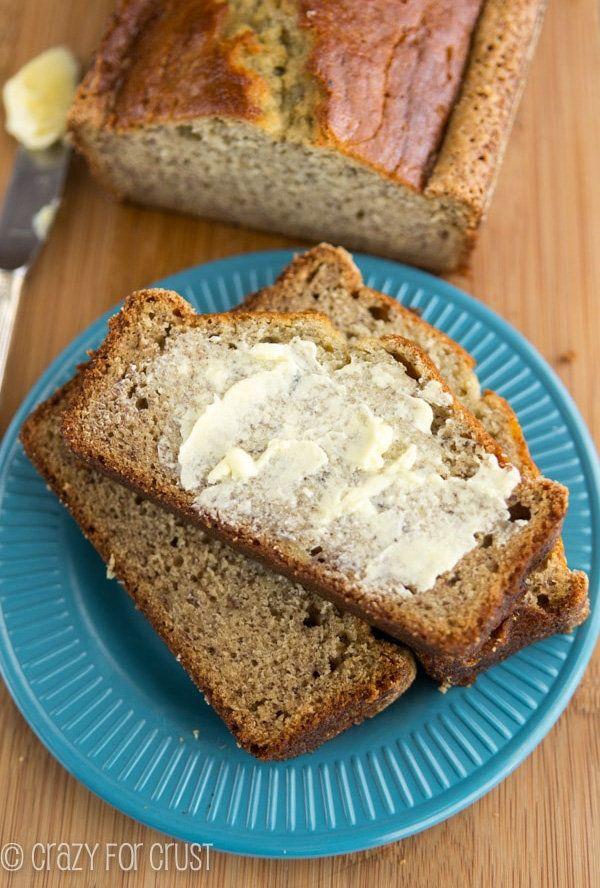 "<strong>Get the <a href=""http://www.crazyforcrust.com/2014/02/moms-banana-bread/"" target=""_blank"">Mom's Banana Bread recipe</"