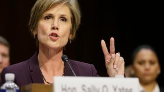 """Former Deputy Attorney General Sally Yates comments on two meetings she held with the White House counsel's office while testifying before a Senate Judiciary Committee hearing on """"Russian interference in the 2016 U.S. election"""" on Capitol Hill in Washington, U .S., May 8, 2017. REUTERS/Jim Bourg"""