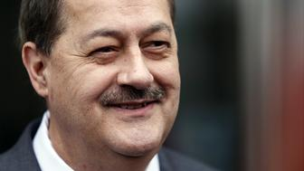 Donald 'Don' Blankenship, former chief executive officer of Massey Energy Co., smiles as he exits the Robert C. Byrd U.S. Courthouse in Charleston, West Virginia, U.S., on Thursday, Dec. 3, 2015. Blankenship, one of Appalachias last coal barons, was found guilty of plotting to speed up production by ignoring safety rules at a company mine that later blew up killing 29 workers. Photographer: Calvin Mattheis/Bloomberg via Getty Images