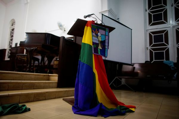 A rainbow flag decorates a chapel before a mass in Matanzas, Cuba, May 5, 2017.