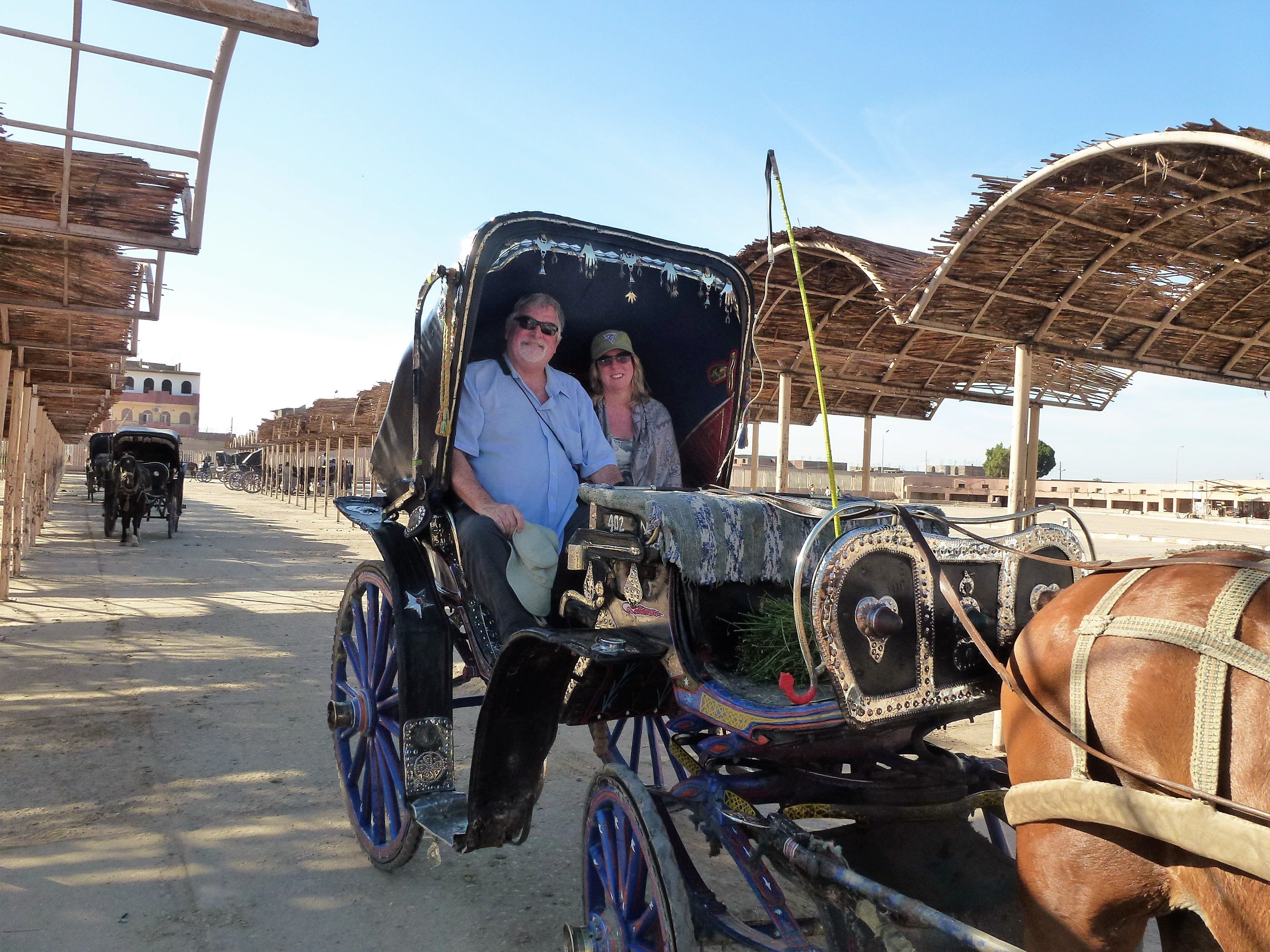 Tom Patterson and Steffanie Strathdee explore Luxor, Egypt, in November 2015. This photo was taken earlier on the d