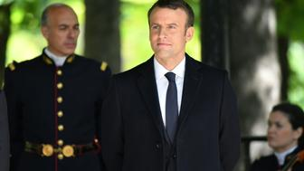 PARIS, FRANCE - MAY 10: President elect Emmanuel Macron attends a ceremony to mark the anniversary of the abolition of slavery and to pay tribute to the victims of the slave trade at the Jardins du Luxembourg on May 10, 2017 in Paris, France. (Photo by Philip Rock/Anadolu Agency/Getty Images)