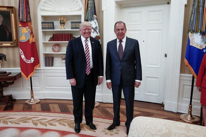 One of the photos provided by the Russian government of U.S. President Donald Trump and Russia Foreign Minister Sergey Lavrov