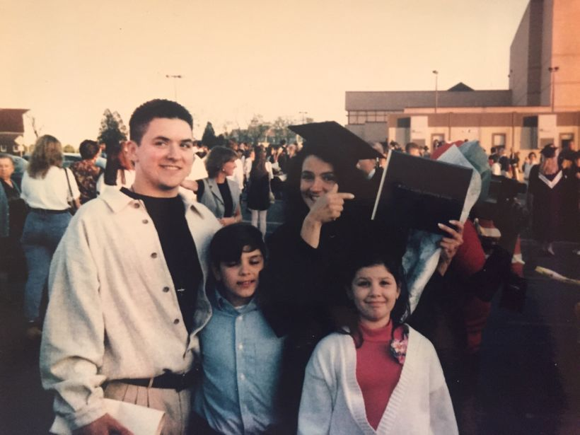 Donna Martino at her college graduation with her three kids, Angelo Jaret and Brianne.