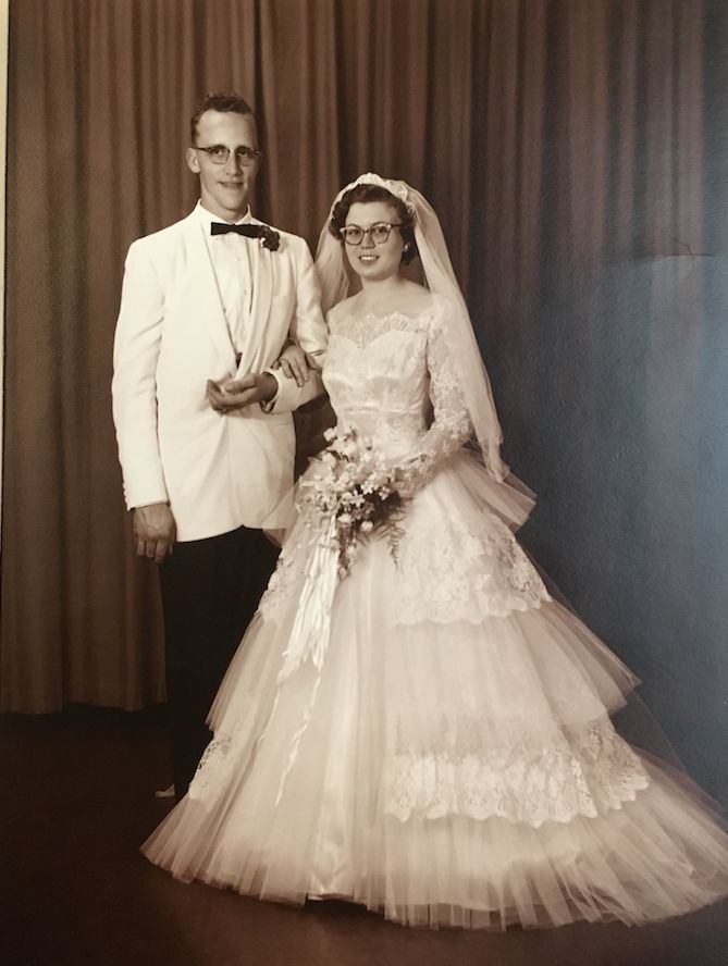 The couple on their wedding day in 1957.