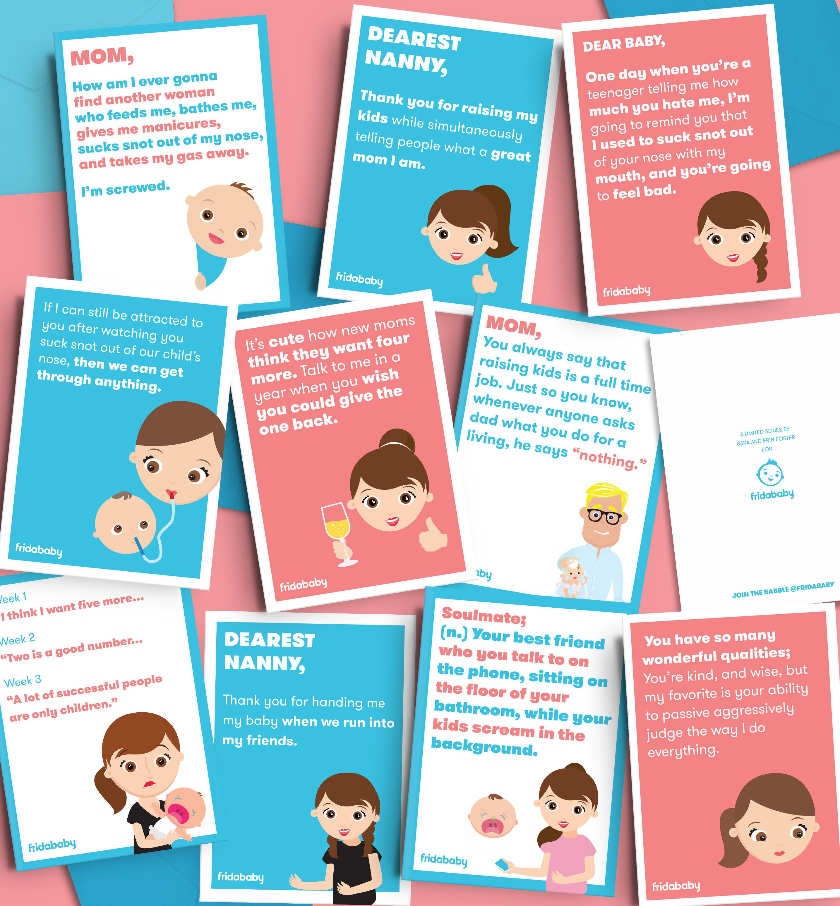 """Erin and Sara Foster teamed up with FridaBaby to create some """"unfiltered"""" Mother's Day cards."""