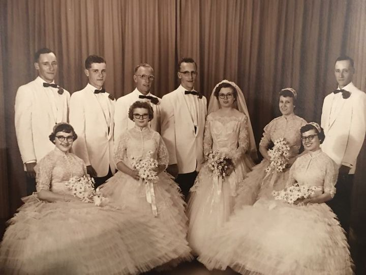 The couple and their bridal party at the 1957 wedding.