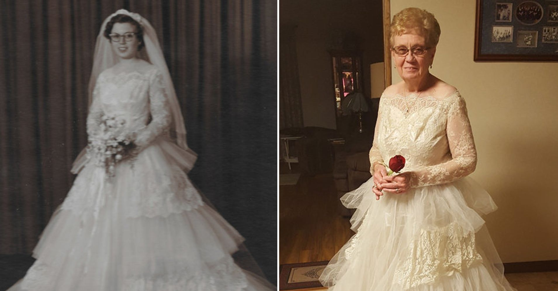 For 60th anniversary great grandma tries on wedding dress for Grandmother dresses for grandson s wedding