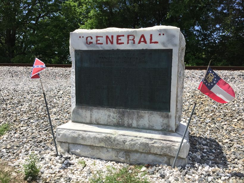 Monument on a lonely stretch of track where the great chase ended and The General was recaptured.