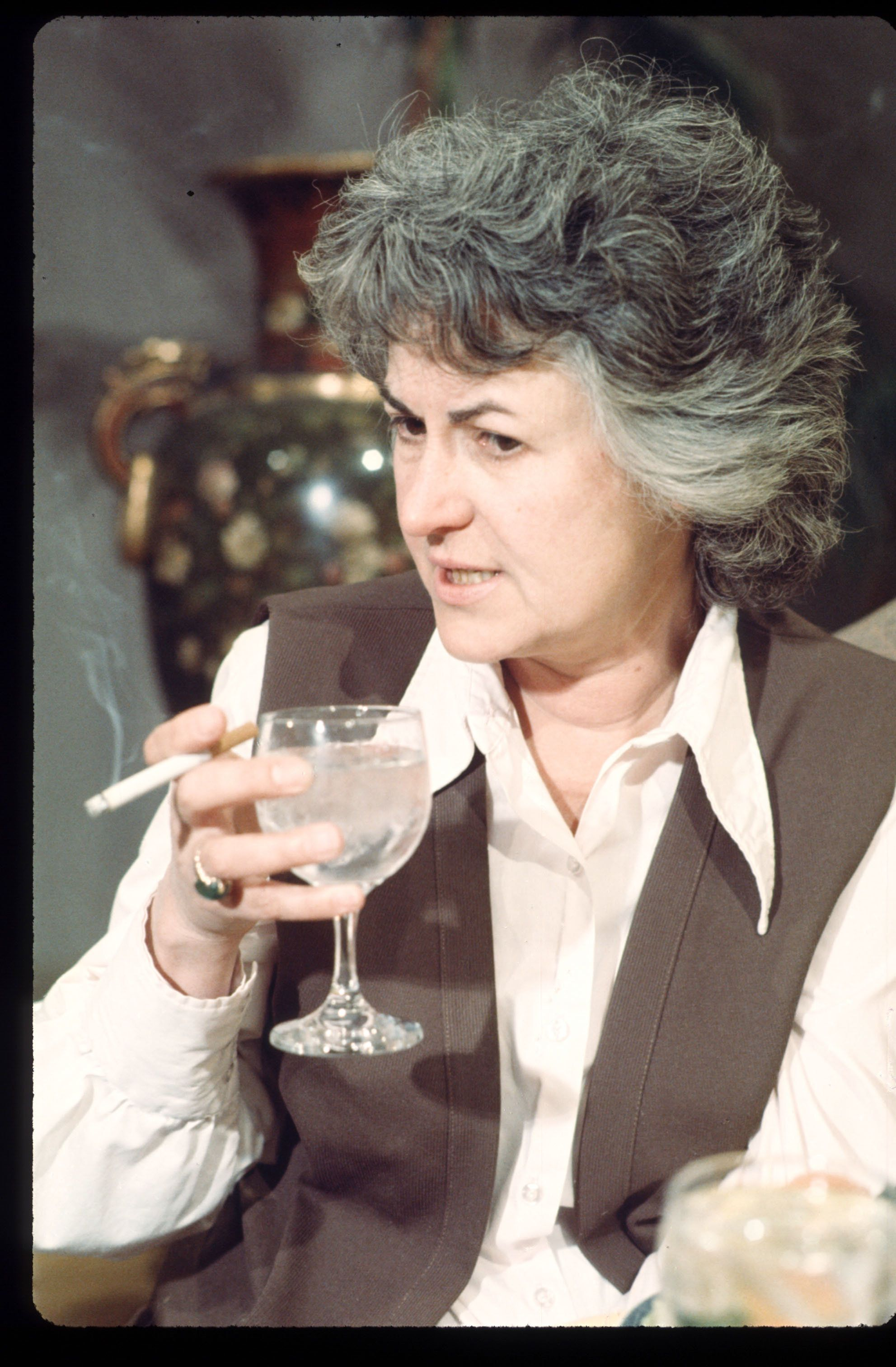 3738 02: Actress Beatrice Arthur holds a wine glass and a cigarette during a scene from the TV show 'Maude' June 1972 in Los Angeles, CA. Arthur guest starred on the show 'All in the Family' as Maude before starring in the spin-off 'Maude.' (Photo by Lee Cohen/Liaison)