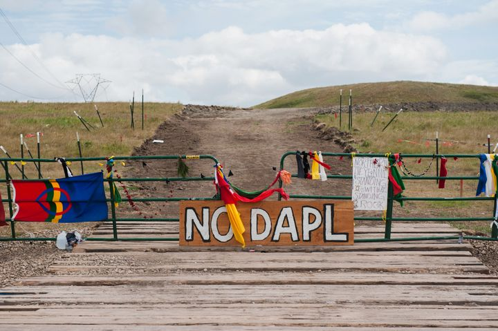 Signs left by those who protested construction of the Dakota Access pipeline near the Standing Rock Sioux reservation in Nort