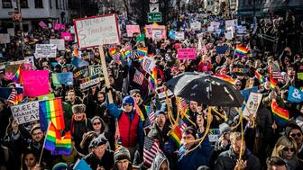 STONEWALL INN, NEW YORK CITY, NEW YORK, UNITED STATES - 2017/02/04: Thousands of LGBTQ activists and allies rallied at New York City's Stonewall Inn, the site of the 1969 riots that launched the gay rights movement. The solidarity action voiced impassioned opposition to President Donald Trump's cabinet appointments and recent executive orders against Muslims. (Photo by Michael Nigro/Pacific Press/LightRocket via Getty Images)