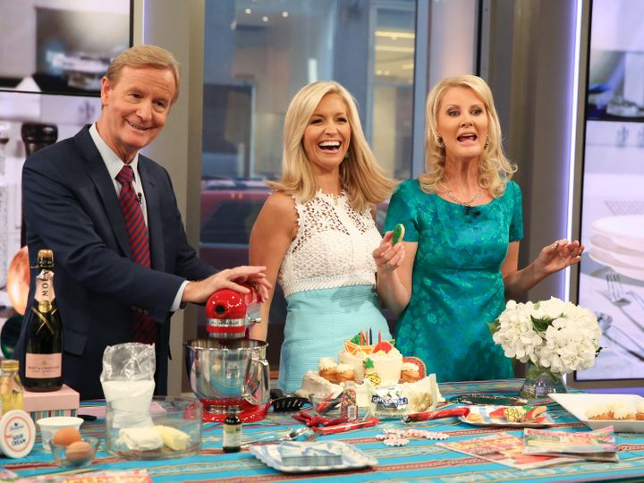 "Chef Sandra Lee, right, hosts a cooking segment on ""Fox & Friends"" with hosts Steve Doocy and Ainsley Earhardt in this 2016 show. When House Speaker Paul Ryan swung by Wednesday, Lee brought out the ice."