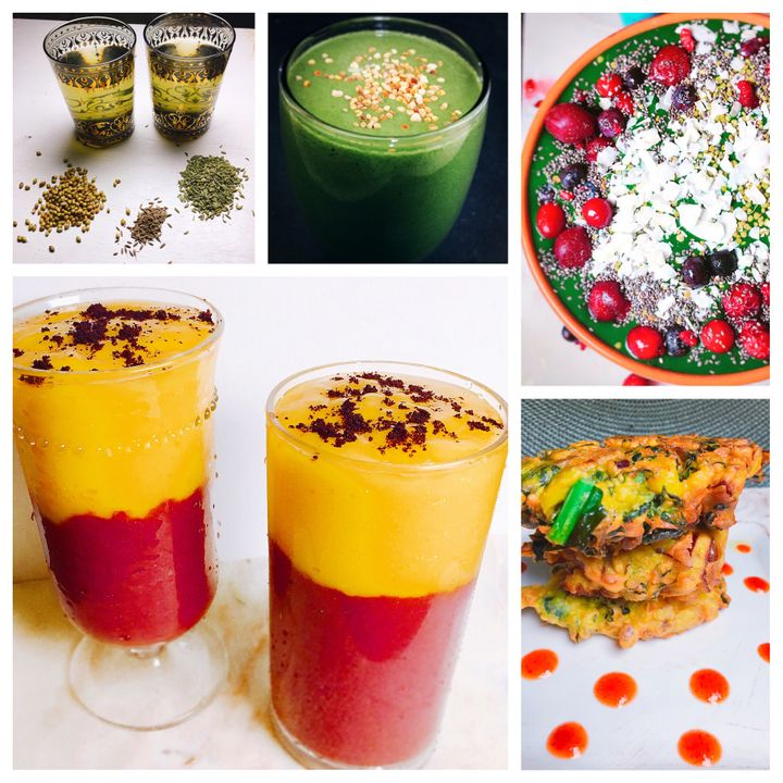 Some Healthy Ramadan Foods: CCF Tea, Smoothies, Smoothie Bowls, and Kale Chickpea Flour Pakoras