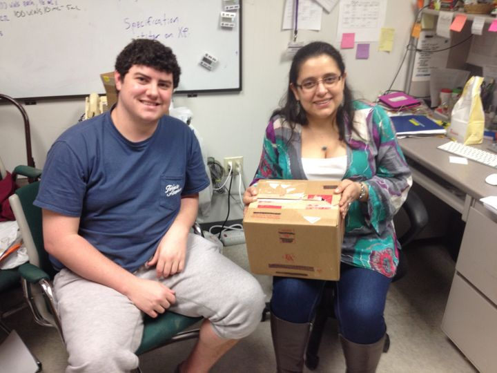 Adriana Hernandez, a Ph.D. student at Texas A&M, and Jacob Lancaster, aCPT technician,worked through the nigh