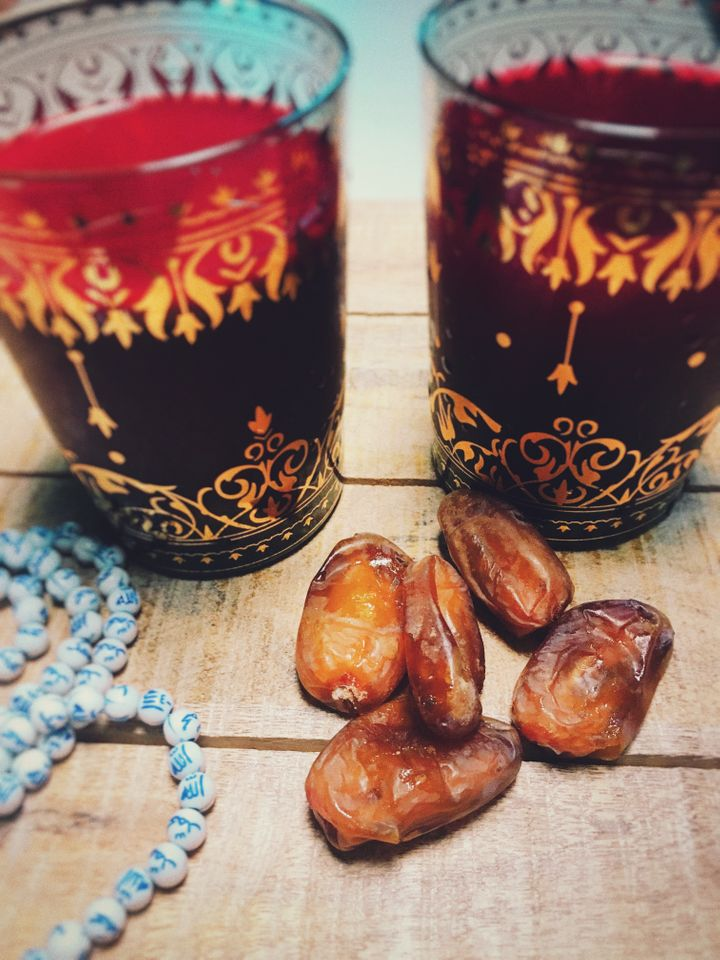 Breaking the fast - Dates, Water & Home-Made Organic Juice with Beets, Celery and Oranges.