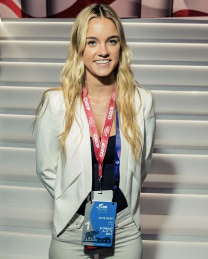 Samantha Schwab at the Republican National Convention in Cleveland last summer.