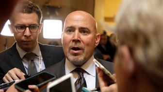 Rep. Tom MacArthur, who drafted an amendment that won over conservatives in the hardline Freedom Caucus this week, speaks to reporters outside the House Chamber after the U.S. House of Representatives approved a bill on Thursday to repeal major parts of Obamacare and replace it with a Republican healthcare plan in Washington, U.S., May 4, 2017. REUTERS/Kevin Lamarque