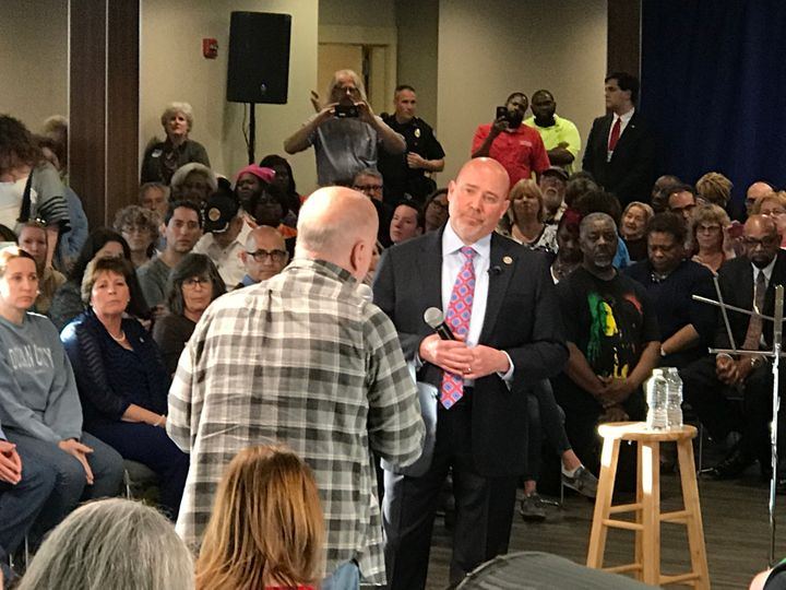 At Wednesday's town hall, Rep. Tom MacArthur insisted that no one with pre-existing conditions will be declined coverage or n