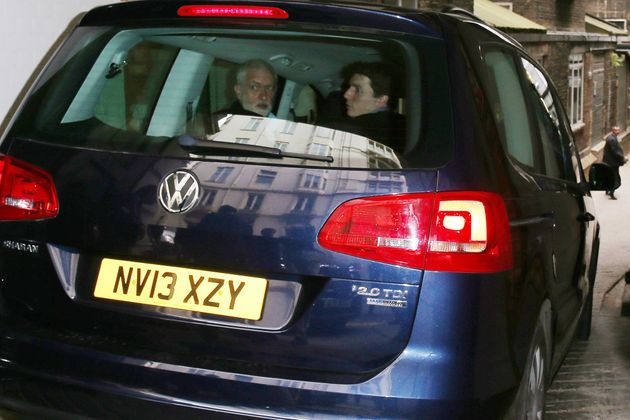 Jeremy Corbyn looks around as his car strikes BBC cameraman Giles Wooltorton as it made its way...