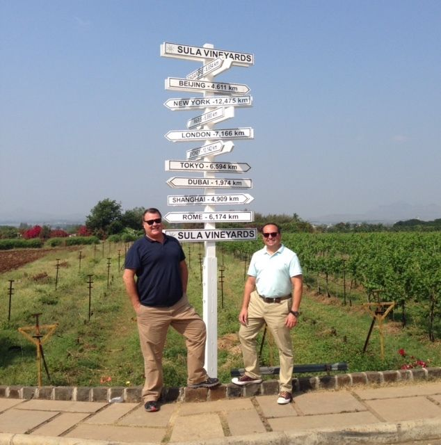 12,475 kilometers from home, the authors enjoy a visit to Sula Vineyards in Nashik.