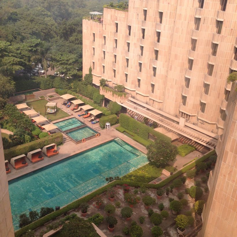 The refreshing courtyard pool at the ITC Maurya, an extravagant hideaway in New Delhi.
