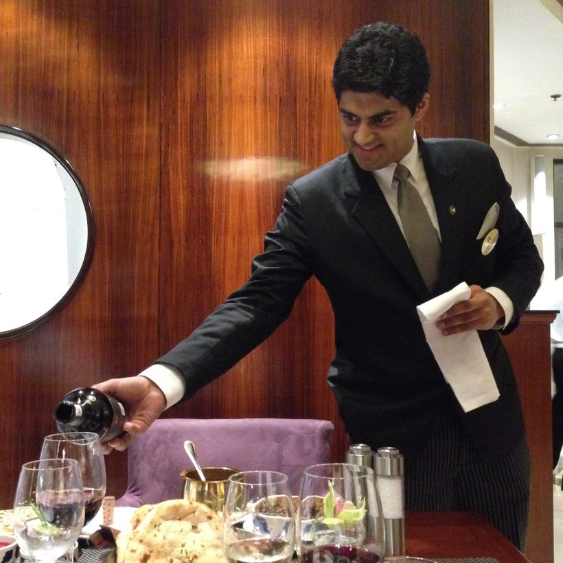 Elegant wine service is a mainstay at Indian hotel restaurants.