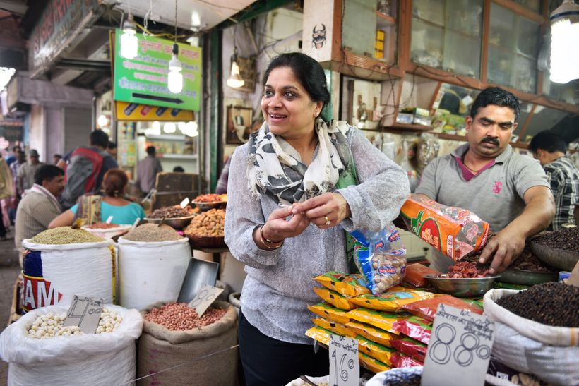 ITC Executive Chef Manisha Basin leads private tours of the spice market, including visits to street food stalls.