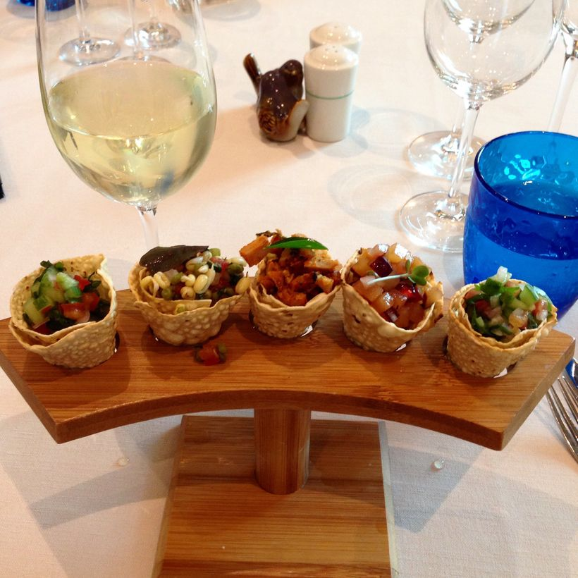 A high style rendition of <em>chaat, </em>Indian street snacks, served at the ITC Maurya.