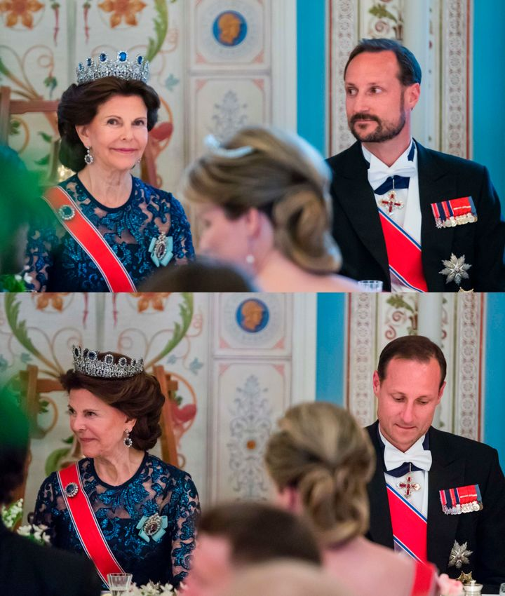 A combination of pictures shows Queen Silvia of Sweden sitting next to Crown Prince Haakon of Norway before (top) and after he shaved his beard during a gala dinner at the Royal Palace in Oslo, Norway, on May 9,