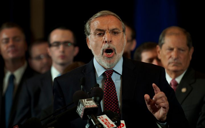 In this photo from 2011, Assemblyman Dov Hikind speaks at a rally in New York with Jewish leaders from the U.S. and Israel. H