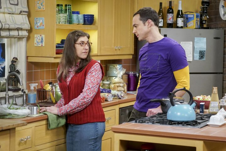 "Mayim Bialik and Jim Parsons in ""The Big Bang Theory."""