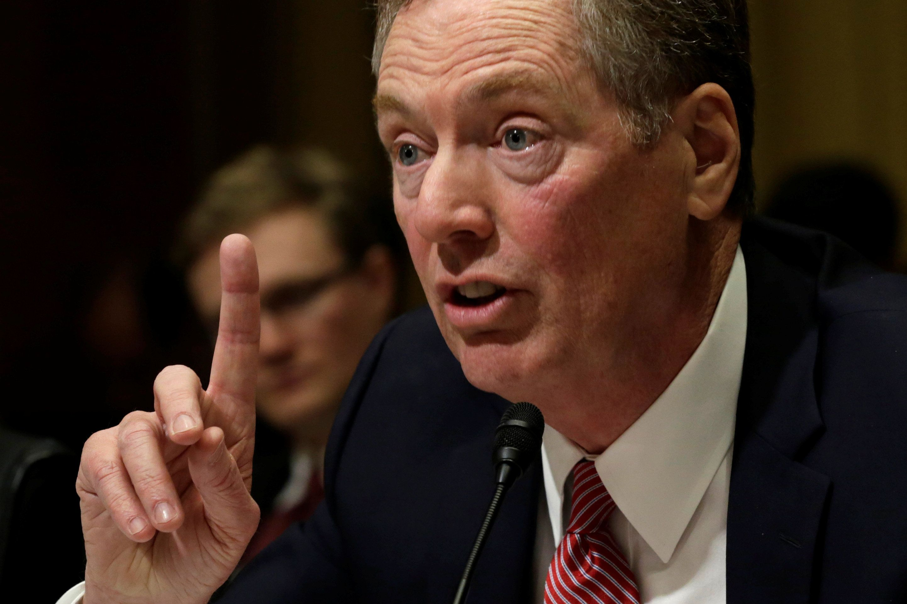 Robert Lighthizer testifies before a Senate Finance Committee confirmation hearing on his nomination to be U.S. trade representative on Capitol Hill in Washington, U.S., March 14, 2017. REUTERS/Yuri Gripas