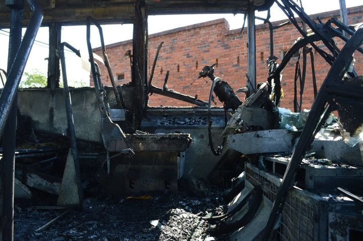 The school bus was completely destroyed by the blaze which is under investigation.