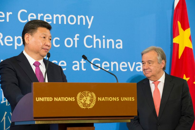 Chinese President Xi Jinping and United Nations Secretary-General António Guterres in Geneva on 18 January 2017. China's One