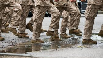 US Marine Corps recruits march in formation at Parris Island, South Carolina