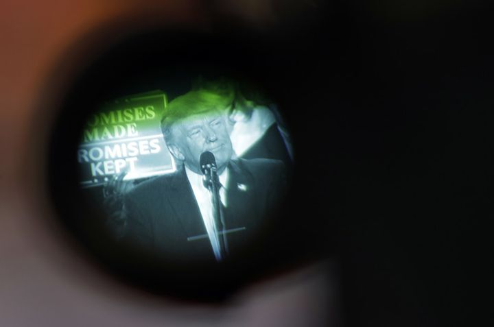 Trump seen through a TV camera's viewfinder in Harrisburg, Pennsylvania on April 29, 2017.