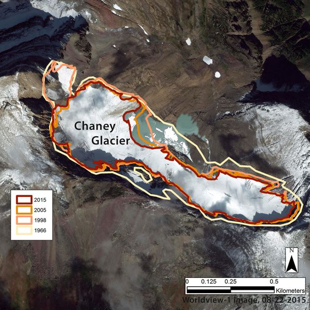 Scientists use aerial photography and satellite images to measure the perimeters of the glaciers in late...
