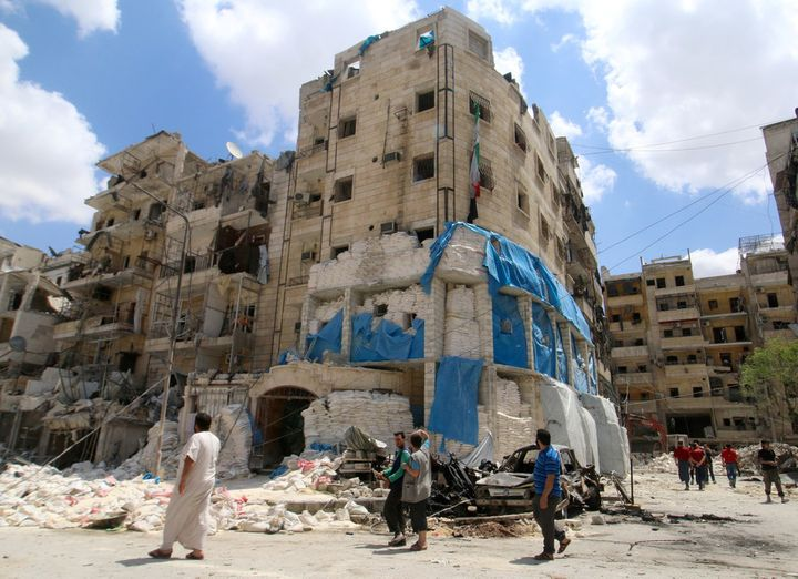 The MSF-backed al-Quds hospital after it was hit by airstrikes on April 28 2016.