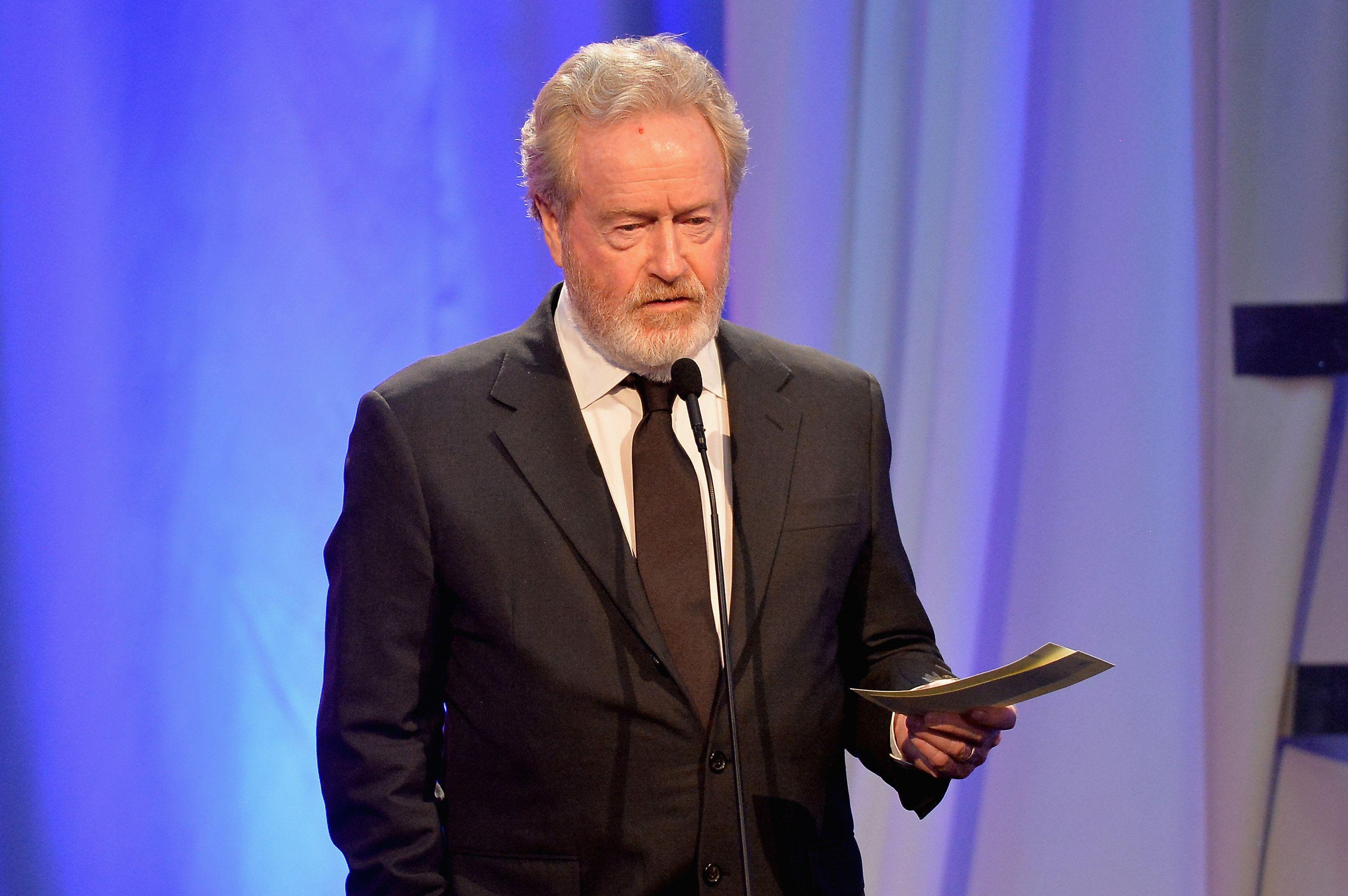 BEVERLY HILLS, CA - FEBRUARY 08:  Director Ridley Scott, winner of the Best Director award for 'The Martian,' speaks onstage at AARP's 15th Annual Movies For Grownups Awards at the Beverly Wilshire Four Seasons Hotel on February 8, 2016 in Beverly Hills, California.  (Photo by Earl Gibson III/Getty Images)