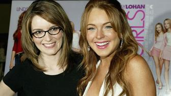NEW YORK - APRIL 23:  (U.S. TABS AND HOLLYWOOD REPORTER OUT)  Comedian/writer Tina Fey and actress Lindsay Lohan attend a private screening of 'Mean Girls' on April 23, 2004 at Loews Lincoln Square Theater, in New York City. (Photo by Paul Hawthorne/Getty Images)