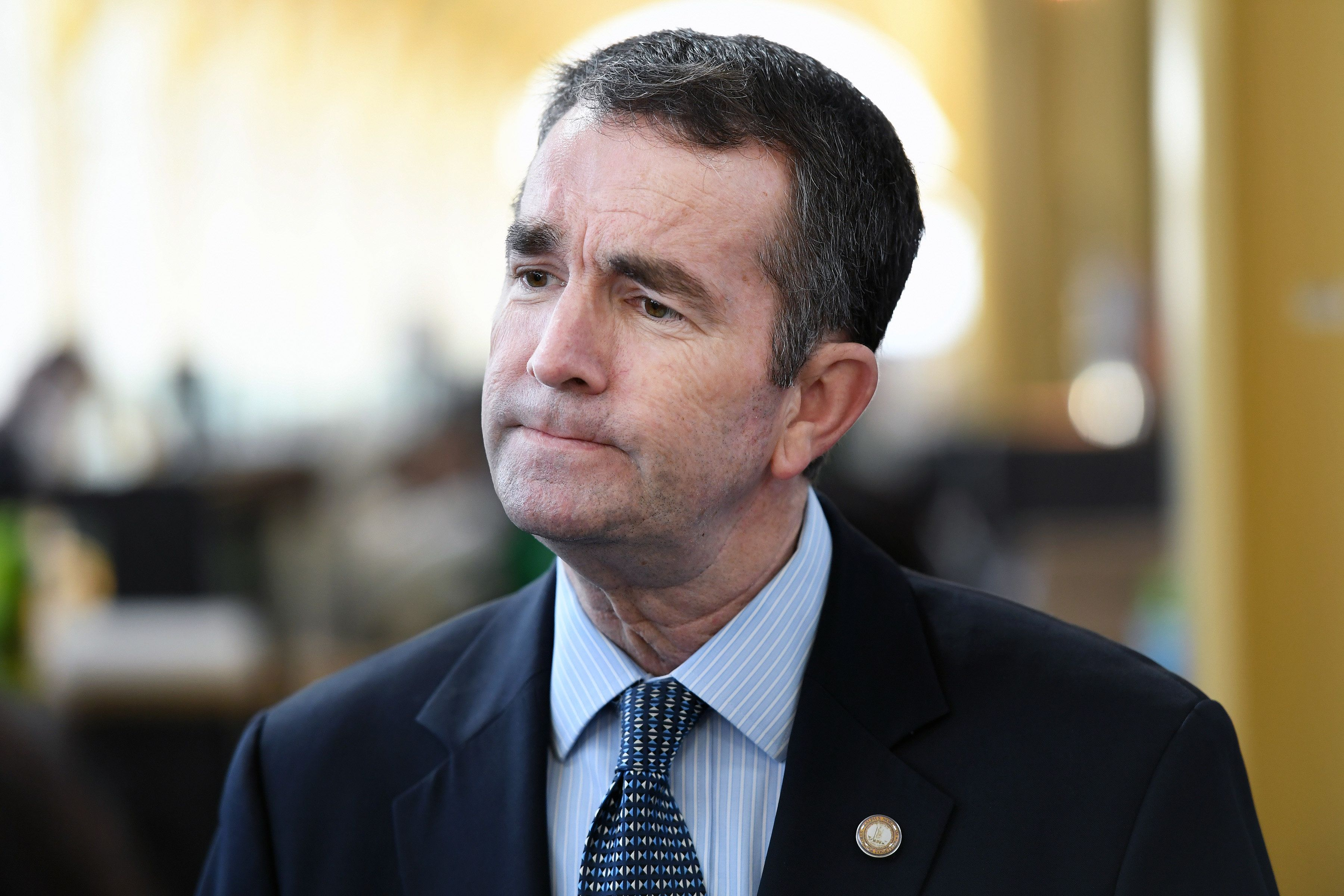 Virginia Lt. Gov.Ralph Northam, seen here meeting with airport workers onMarch 8, 2017, is under fire from oppone