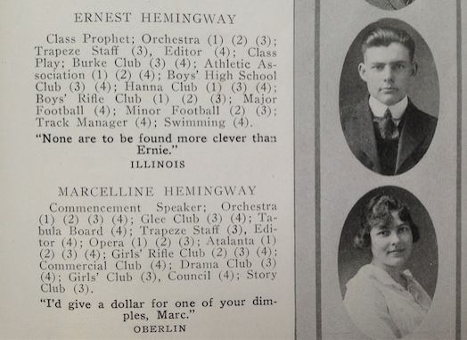 "Hemingway's yearbook entry, just above his ""twin"" sister, Marcelline."